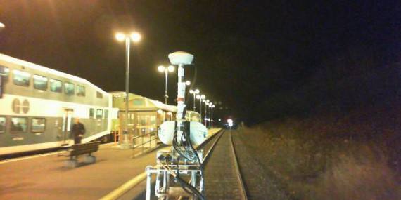 This picture shows a passenger station in Toronto, Ontario, taken on a night survey in November. L-KOPIA and LKO uses two different laser systems, the Z+F and LMS Clearance Laser Systems. It is the LKO/L-KOPIA LMS system shown in this picture.