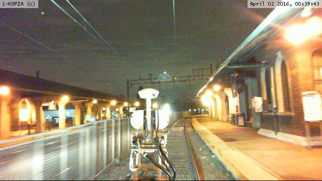 The L-KOPIA Excursion Laser Truck surveying the Orange Station, NJT, Morristown Line on a night shift on April 2nd.