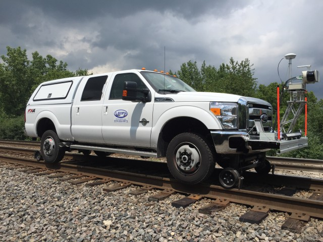 The new 2016 L-KOPIA F-350 Laser Truck on track outside Joliet, Illinois.